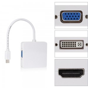 Adaptador Mini Display Port a Vga / Hdmi / dvi (3 en 1)